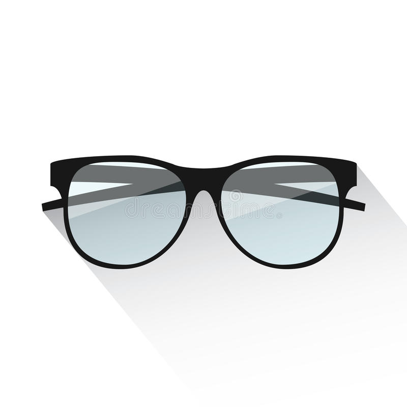 Płaskich eyeglasses wektorowa ilustracja na bielu ilustracja wektor