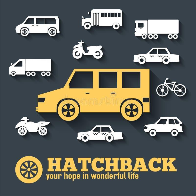Płaskich hatchback pojęcia ikony samochodowych ustalonych tło ilustracyjny projekt Tamplate dla sieci i wiszącej ozdoby royalty ilustracja