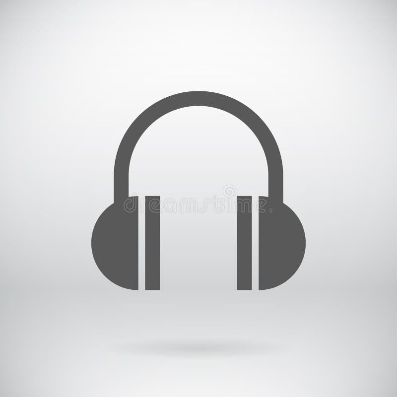 Płaskich hełmofonów słuchawki Szyldowy Wektorowy Muzyczny symbol ilustracji