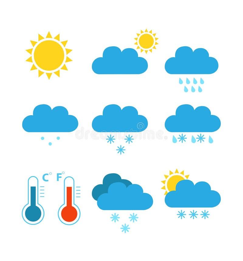 Płaskich kolor pogody ikon wektorowa ilustracja odizolowywająca royalty ilustracja