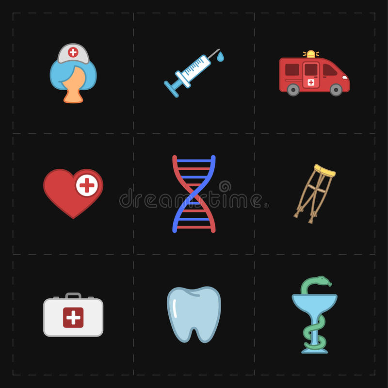 9 płaskich medycyn ikon ilustracji