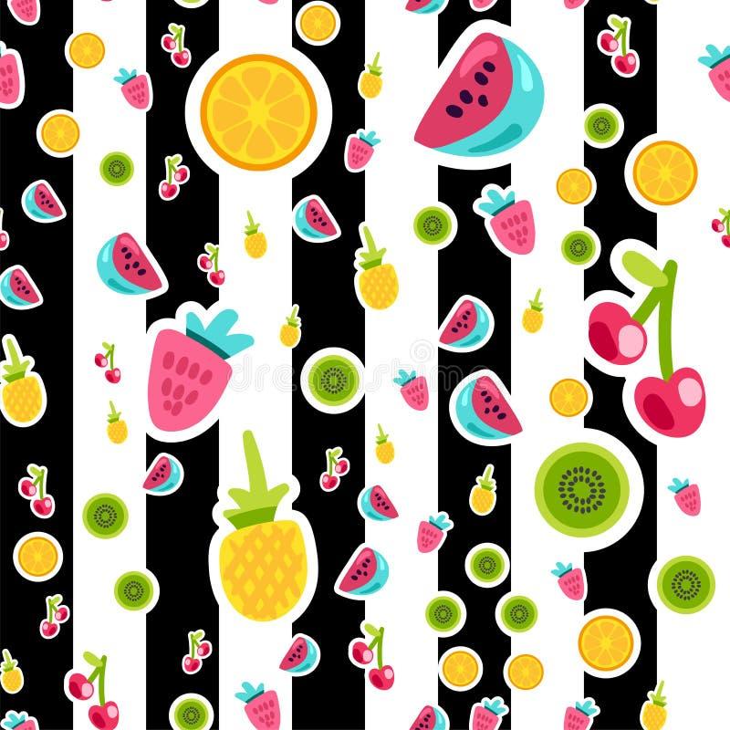 Płaskich owoc wektoru bezszwowy wzór royalty ilustracja