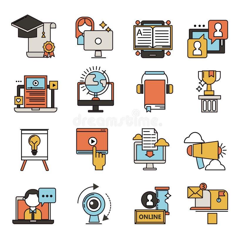 Płaskich projekt ikon edukaci pięcioliniowego szkolenia książkowego sklepu uczenie wiedzy wektoru online odległa ilustracja royalty ilustracja