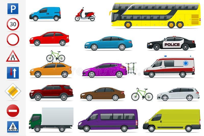 Płaskich wysokiej jakości miasto transportu samochodów i drogowych znaków ikony set Bocznego widoku sedan, samochód dostawczy, ła ilustracji