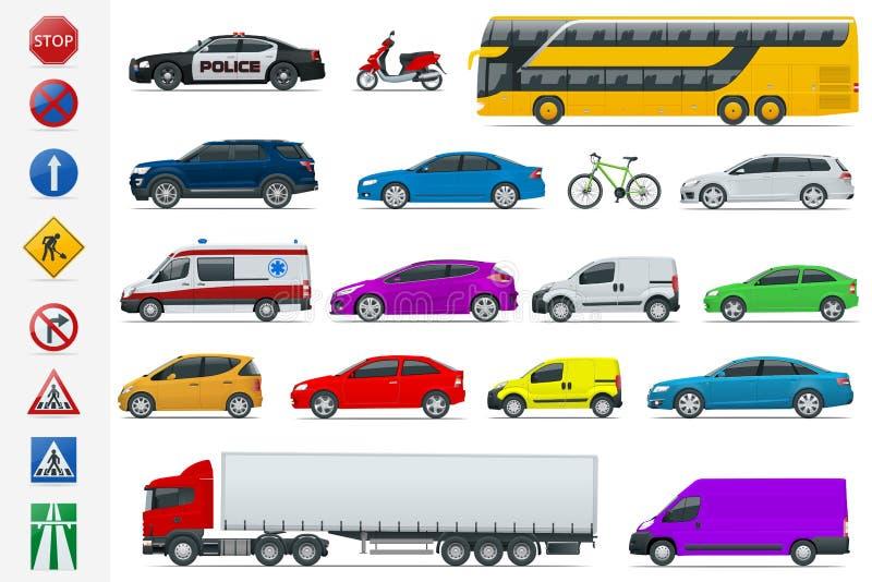 Płaskich wysokiej jakości miasto transportu samochodów i drogowych znaków ikony set Bocznego widoku sedan, samochód dostawczy, ła royalty ilustracja