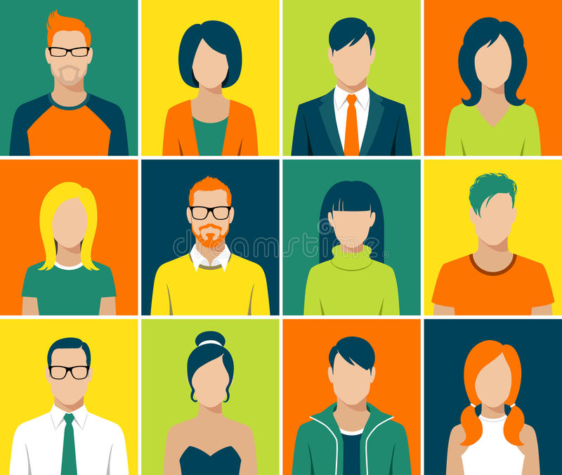 Płaskie avatar app ikony ustawiają użytkownik twarzy ludzi wektorowych