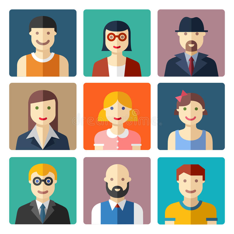Płaskie avatar ikony, twarze, ludzie ikon royalty ilustracja