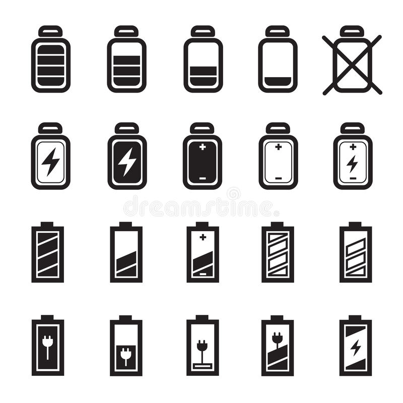Płaskie Bateryjne ikony Ustawiać zdjęcie stock