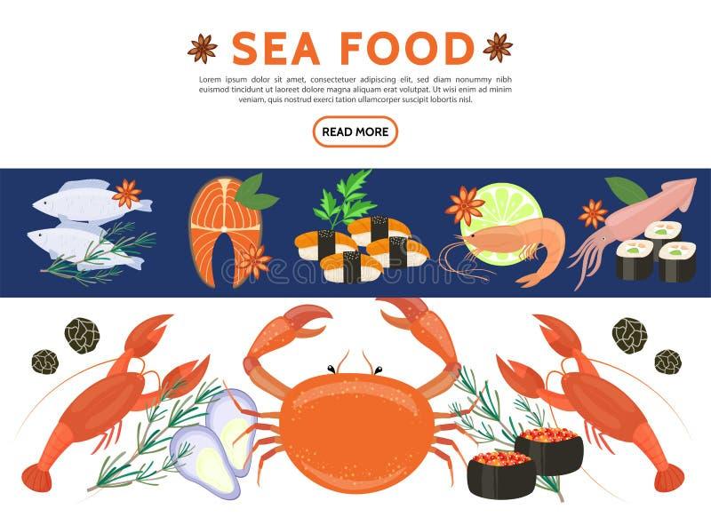 Płaskie Dennego jedzenia ikony Ustawiać royalty ilustracja
