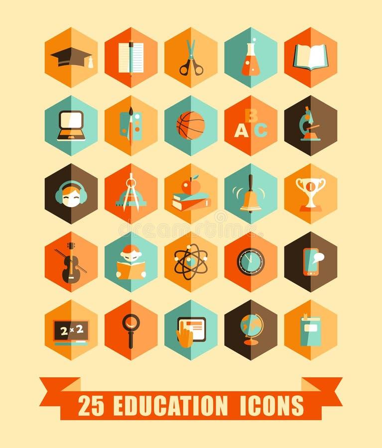 Płaskie edukacj ikony ilustracja wektor