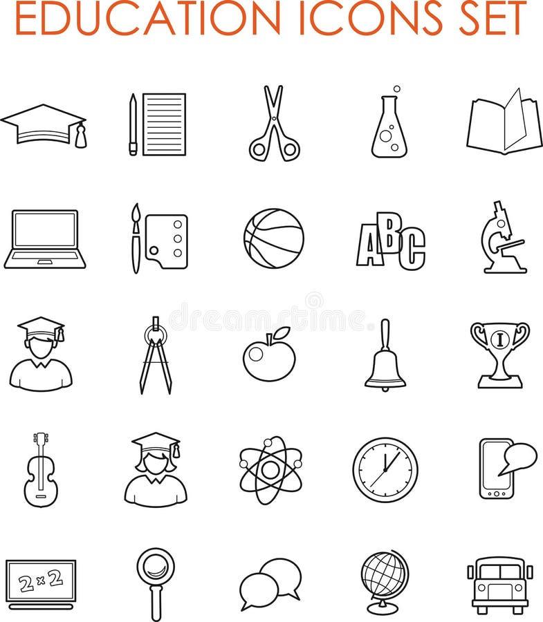 Płaskie edukacj ikony ilustracji