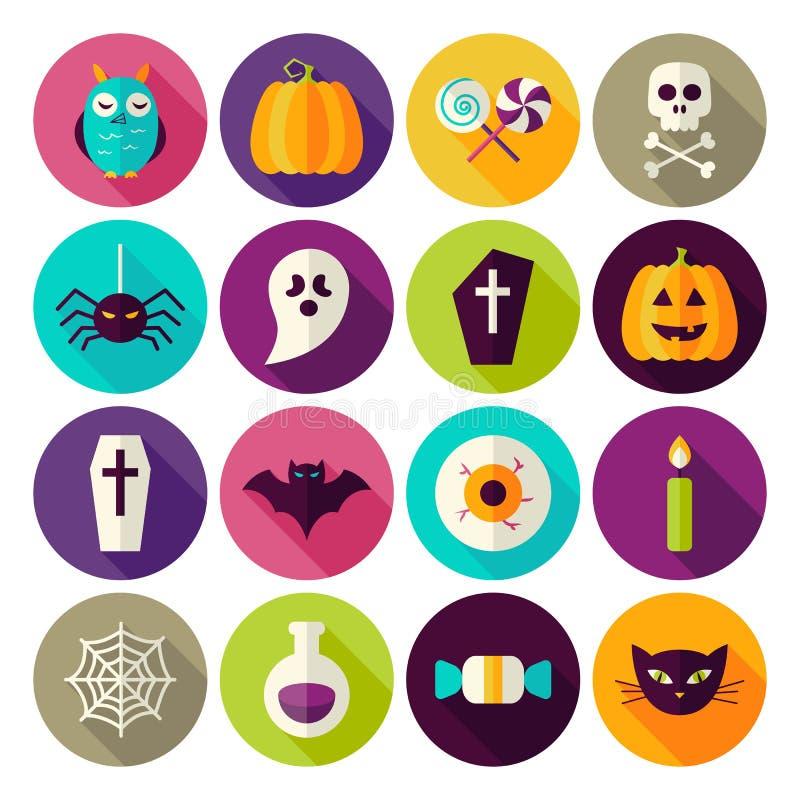 Płaskie Halloweenowe Trikowe lub funda okręgu ikony Ustawiać z długim cieniem ilustracja wektor