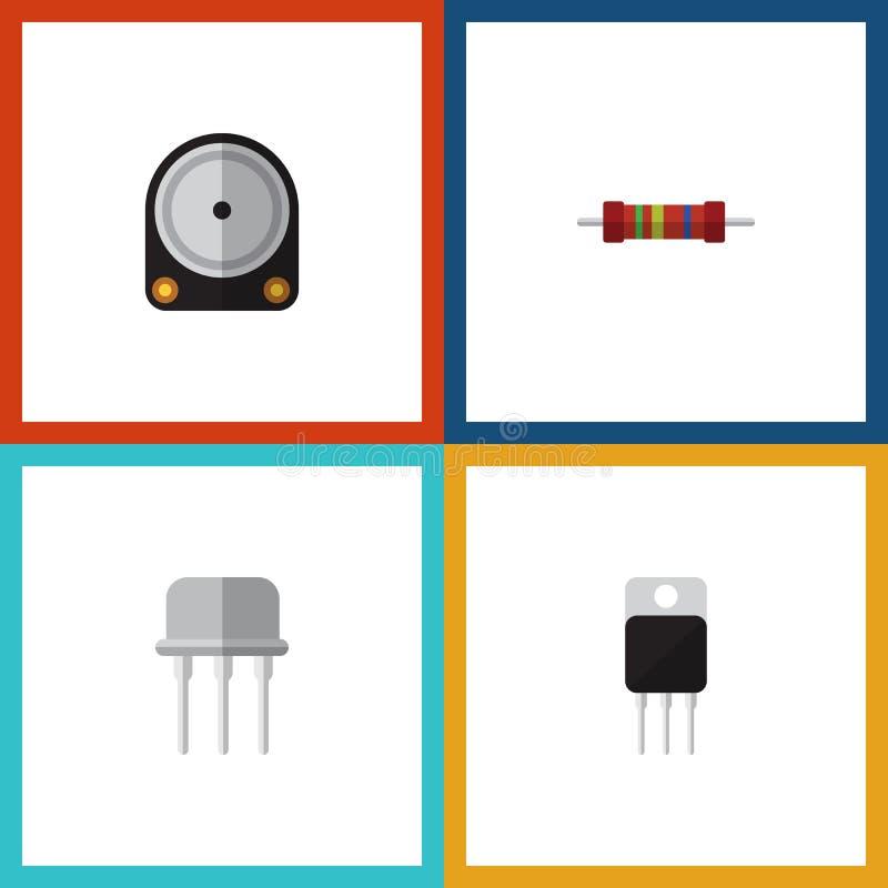 Płaskie ikon elektronika Ustawiać Hdd, opór, Opierają się I Inni wektorów przedmioty Także Zawiera Opiera się, Ciężki, elektronik ilustracji