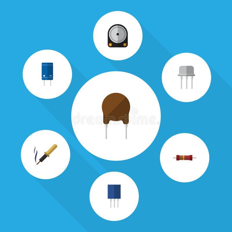 Płaskie ikon elektronika Ustawiać komora, Hdd, trioda I Inni Wektorowi przedmioty, Także Zawiera żelazo, Opiera się, opór ilustracja wektor