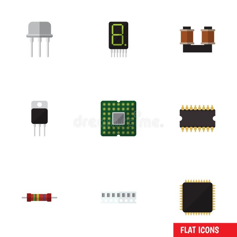 Płaskie ikon elektronika Ustawiać odbiorca, pamięć, opór I Inni Wektorowi przedmioty, Także Zawiera opornika, set, centrala ilustracji