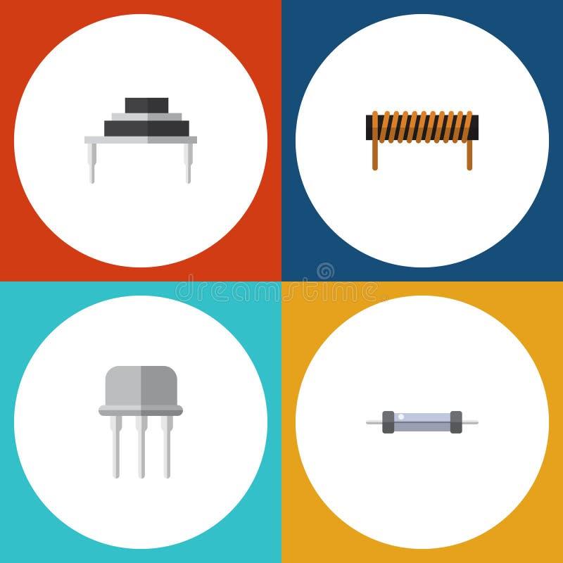 Płaskie ikon elektronika Ustawiać opornik, bobina, Opierają się I Inni wektorów przedmioty Także Zawiera opór, Opiera się, zwitka ilustracja wektor