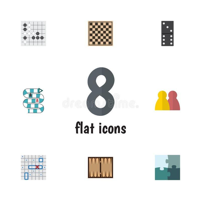 Płaskie ikon gry Ustawiać szachy stołu, wyrzynarki, Dla wielu graczy I Wektorowych Inni przedmioty, Także Zawiera łamigłówkę, sza ilustracji