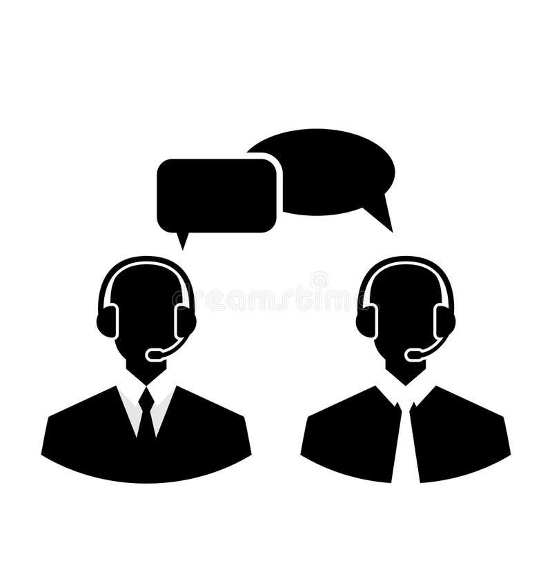 Płaskie ikony centrum telefoniczne sylwetka obsługują operatorów jest ubranym głowę royalty ilustracja