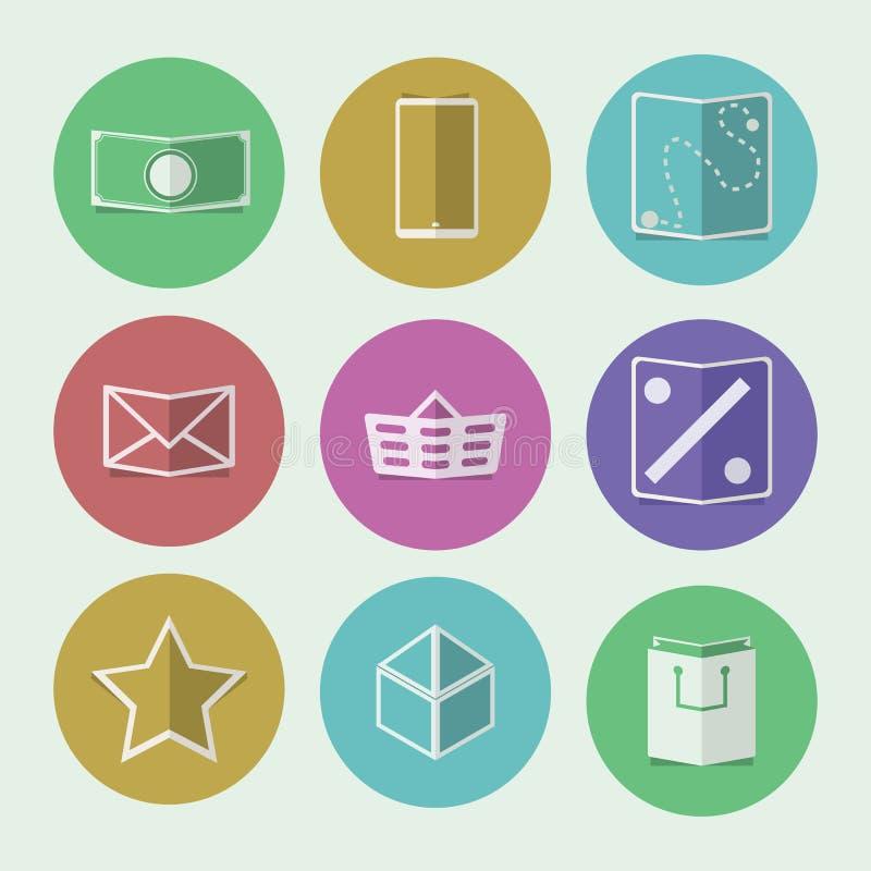 Płaskie ikony dla online sklepu ilustracji