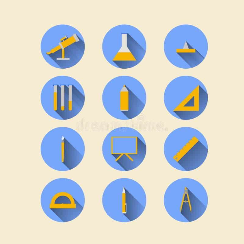 Płaskie ikony dla szkolnych dostaw ilustracji