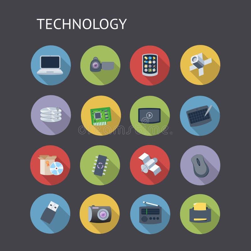 Płaskie ikony Dla technologii royalty ilustracja