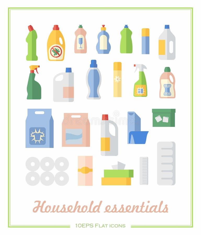 Płaskie ikony gospodarstwa domowego substancje chemiczne i papierowi produkty royalty ilustracja