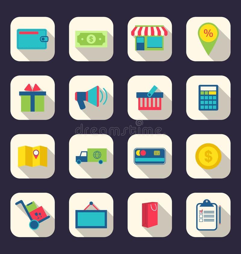 Płaskie ikony handlu elektronicznego zakupy symbol, online sklepowi elementy a ilustracji