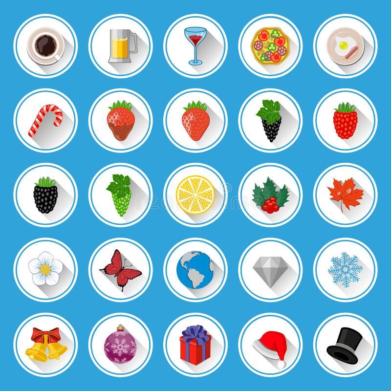 Płaskie Ikony I Piktogramy Ustawiający Zdjęcia Stock