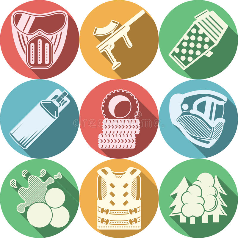 Płaskie ikony inkasowe dla paintball ilustracji
