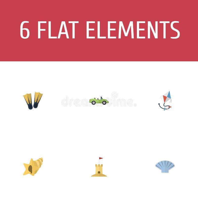 Płaskie ikony Latają, koncha, Shell I Inni Wektorowi elementy, Set lato ikon Płascy symbole Także Zawiera kabriolet, wierza ilustracji