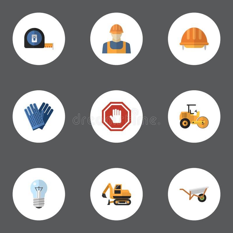Płaskie ikony mitynki, rolka metr, ciągnik I Inni Wektorowi elementy, Set budów ikon Płascy symbole Także Zawiera ilustracji