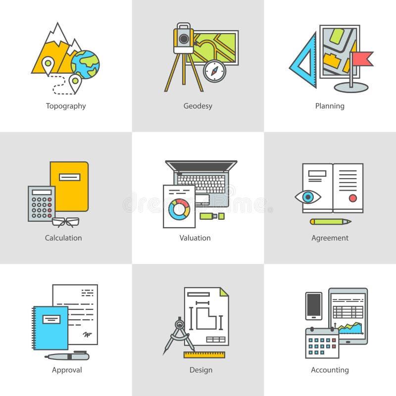 Płaskie ikony, przeglądać, trenować, budowa i konstruować, ilustracji