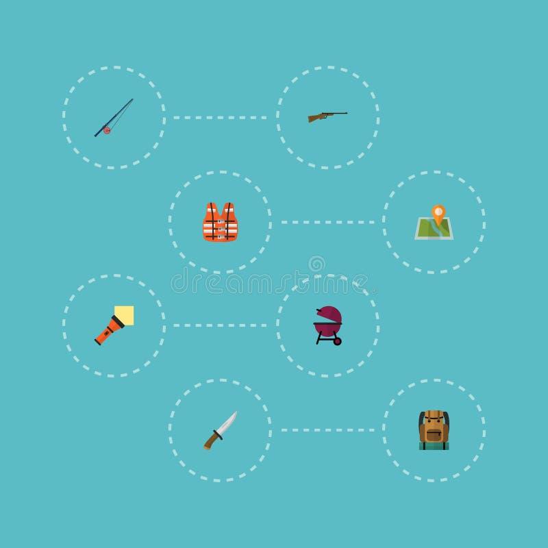 Płaskie ikony Tropi krajacza, torby, broni I Innych Wektorowych elementów, obrazy royalty free