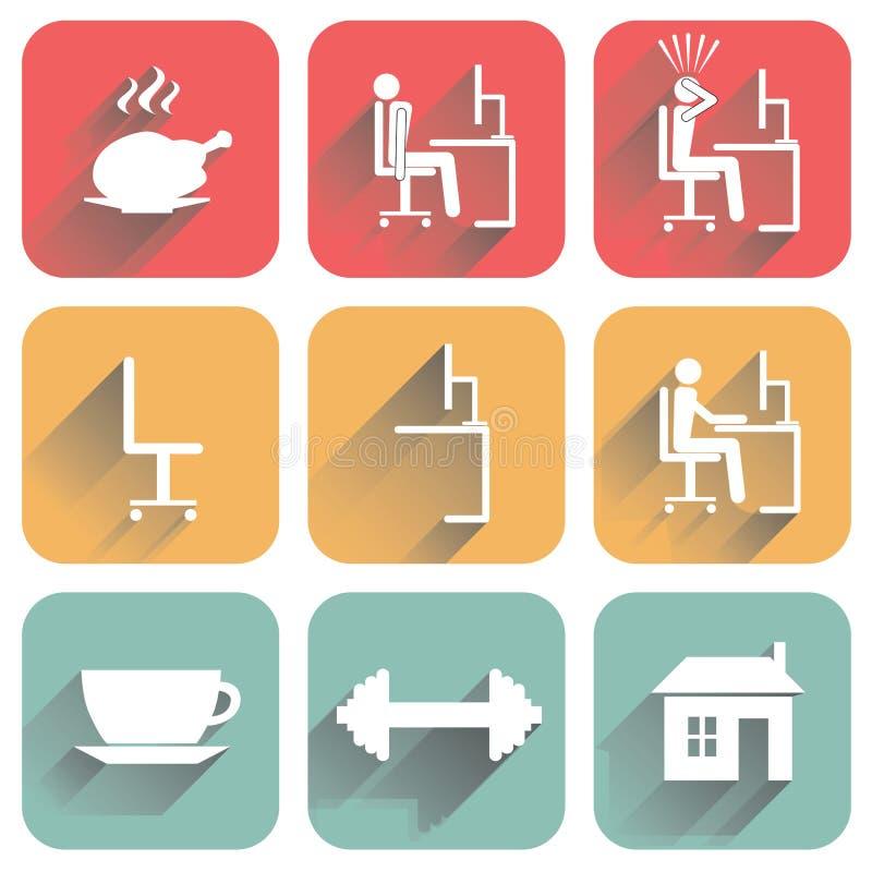 Płaskie ikony z cieniem ilustracji