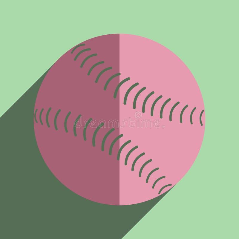 Płaskie ikony z cieniem baseball piłka royalty ilustracja
