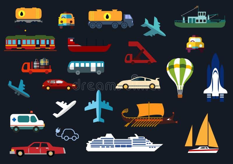 Płaskie ikony z drogą, woda, poręcz, transport powietrzny royalty ilustracja