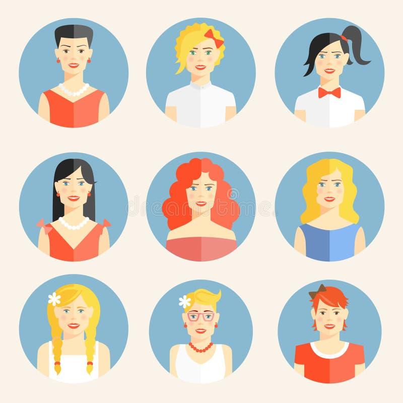 Płaskie ikony z portretami modne kobiety royalty ilustracja