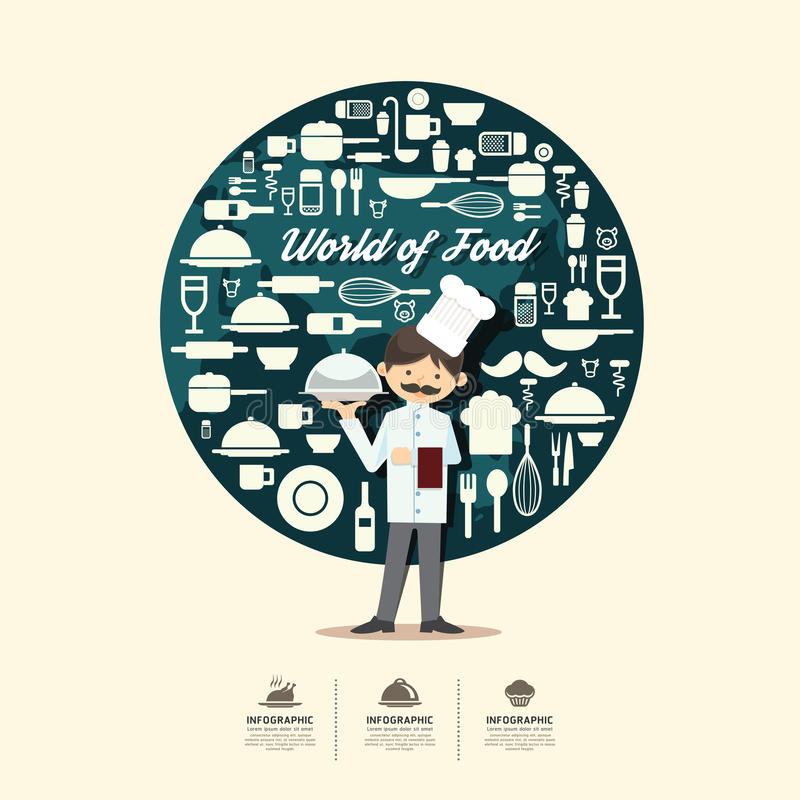 Płaskie ikony z szefa kuchni charakteru projektem infographic, kulinarni foods ilustracji