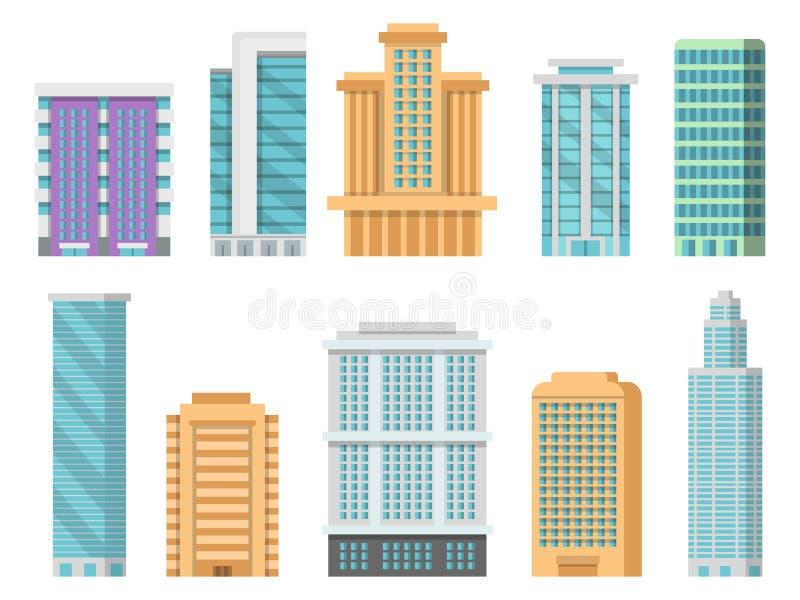 Płaskie ilustracje różnorodni nowożytni drapacze chmur i innych biznesów budynki royalty ilustracja