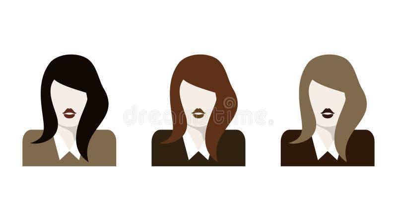 Płaskie kobiet ikony ustawiać ilustracji