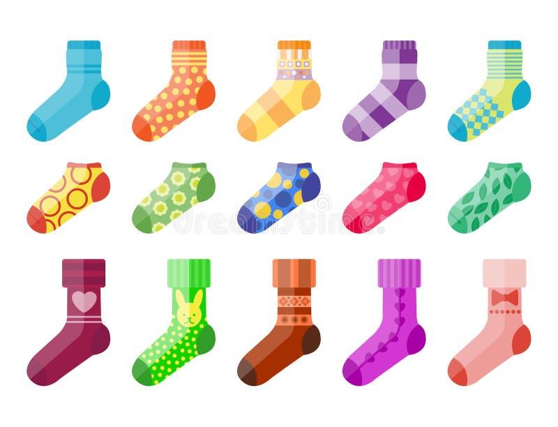 Płaskie kolorowe skarpety ustawiający projekta wektorowy ilustracyjny wybór różnorodnej bawełnianej stopy ciepły płótno ilustracja wektor
