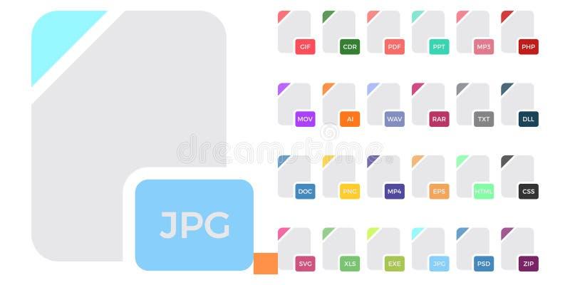 Płaskie kolorowe wektorowe kartoteka formata ikony ustawiają odosobnionego na bielu, dokumentu typ mieszkanie ikony Kartoteka for ilustracja wektor