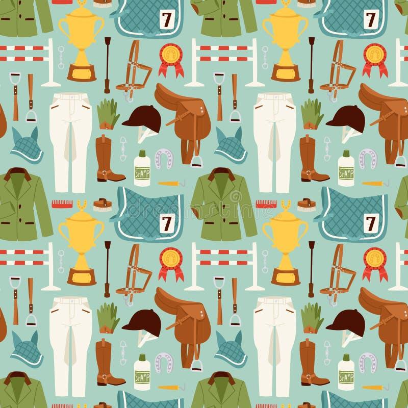 Płaskie koloru dżokeja ikony ustawiać z wyposażenie bezszwowym deseniowym wektorem royalty ilustracja