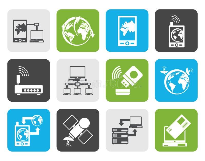 Płaskie komunikaci, komputeru i telefonu komórkowego ikony, royalty ilustracja