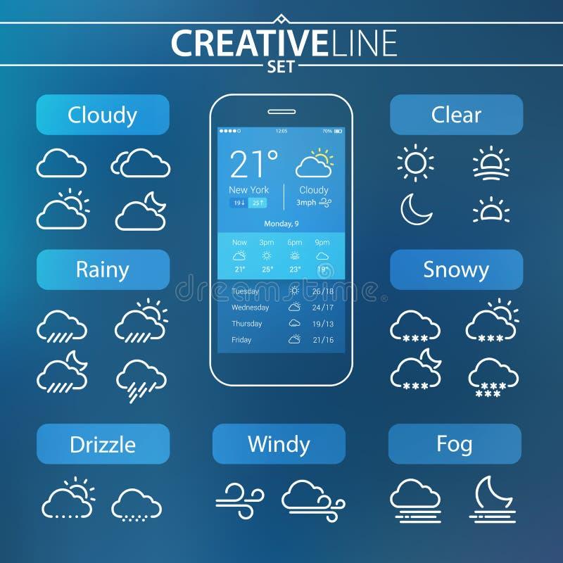 Płaskie kontur pogody ui ikony ustawiać dla wiszącej ozdoby i sieci użycia royalty ilustracja