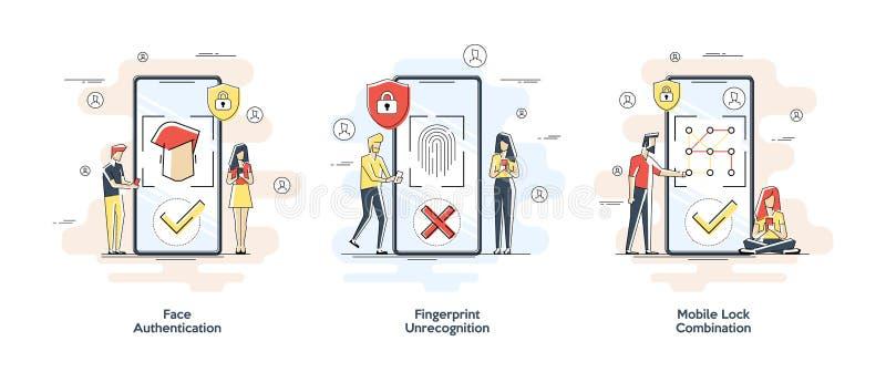 P?askie liniowe ilustracje Biometryczny uwierzytelnienia poj?cie Set z prywatno?ci rozpoznania i ochrony elementami royalty ilustracja