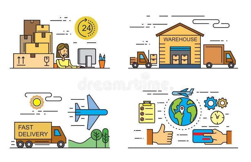 Płaskie logistyki i dostawa ilustracja wektor