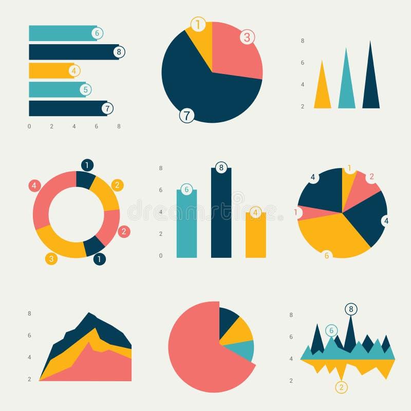 Płaskie mapy, wykresy ilustracji