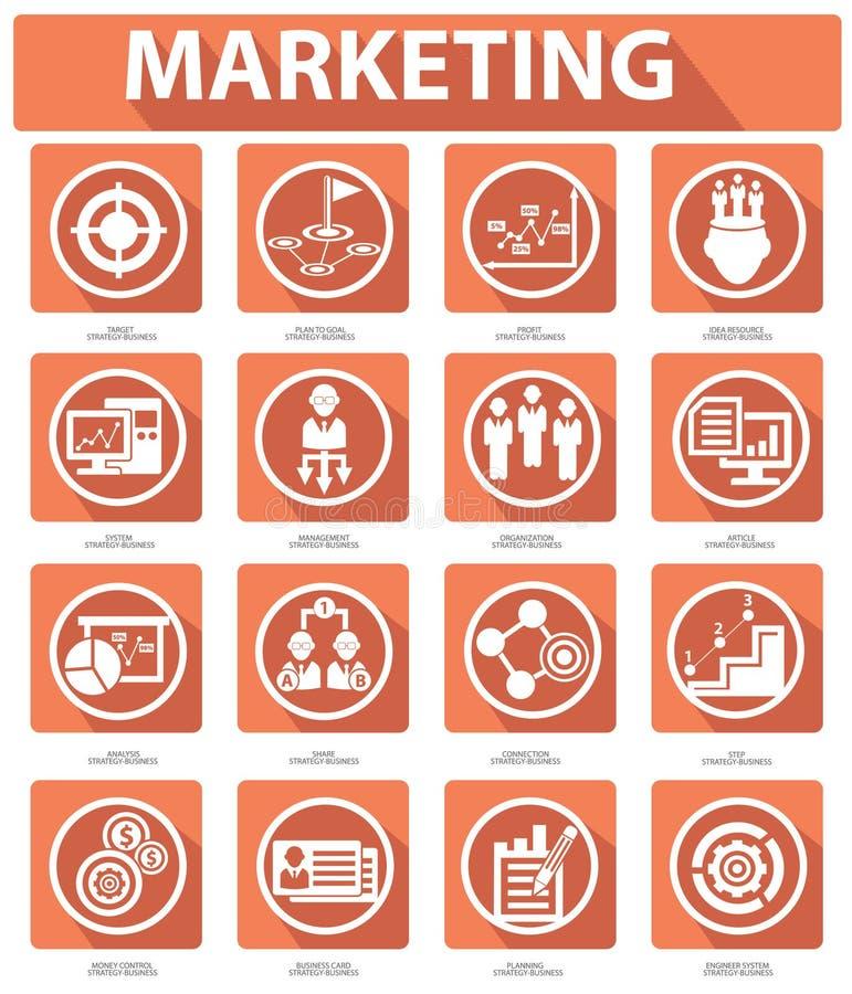 Płaskie Marketingowe ikony, pomarańczowa wersja ilustracji