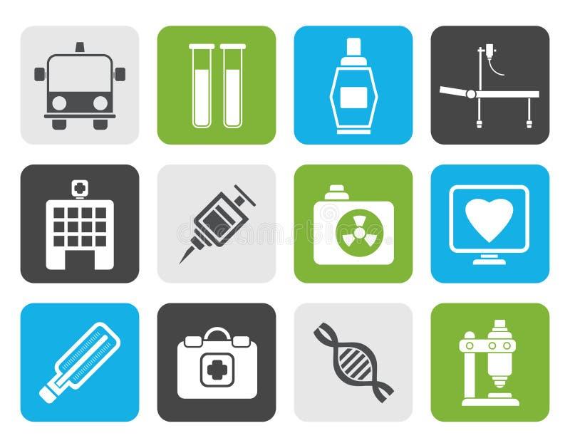 Płaskie medycyny i opieki zdrowotnej ikony ilustracja wektor
